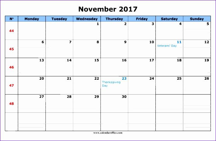 november 2017 calendar word 717469