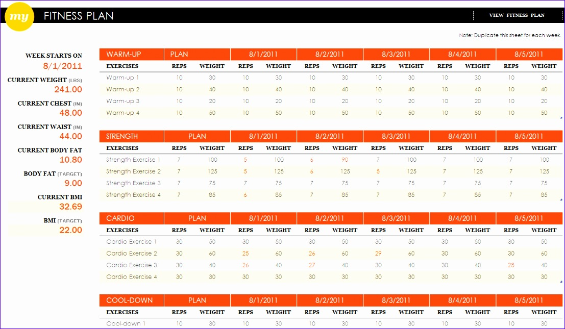 fitness plan excel template 1107645
