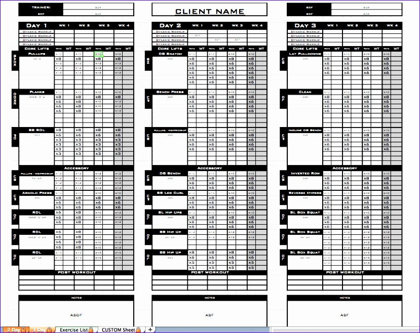 10 Excel Workout Templates Exceltemplates Exceltemplates