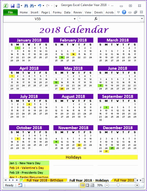 2018 excel calendar printable template spreadsheet yearly monthly 513667