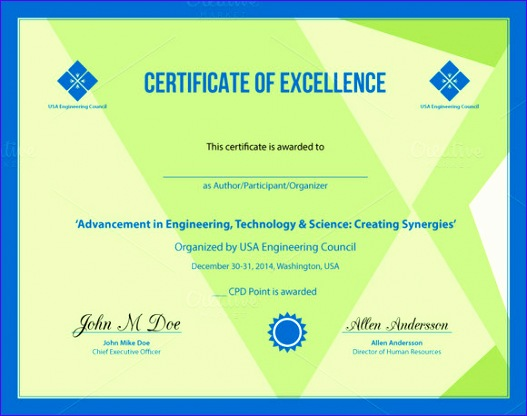 Excellence Award Certificate Template  Exceltemplates