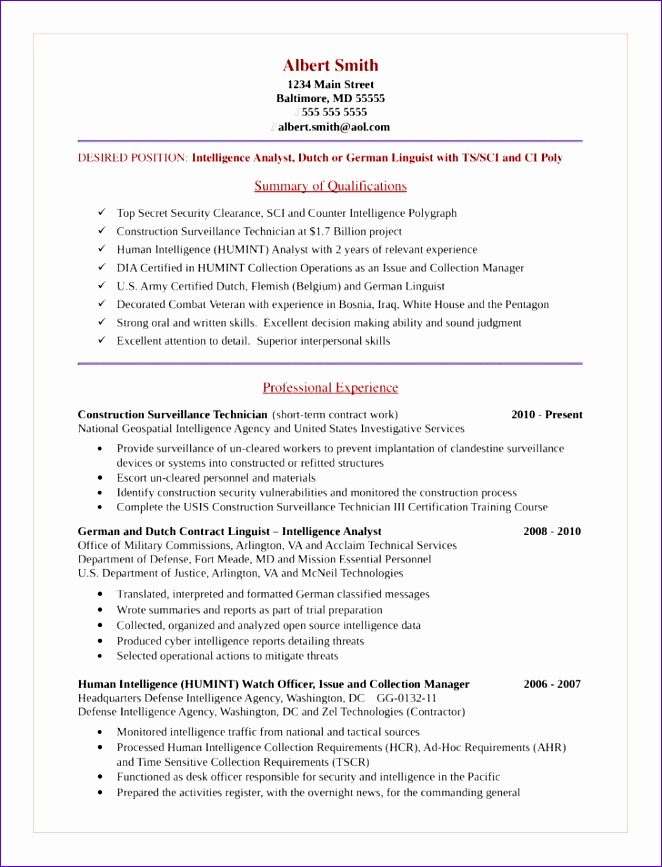 basic intelligence analyst resume templates and samples 662867