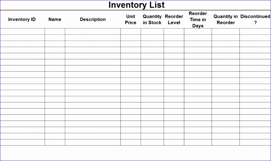 excellent inventory checklist template sample 931552