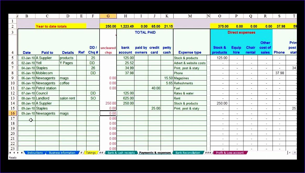 basic bookkeeping spreadsheet 1164662