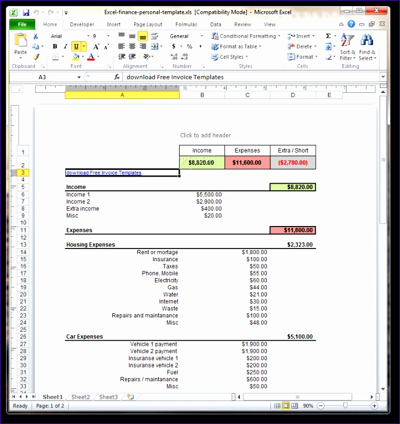 Excel Finance Personal Templatetml 784831
