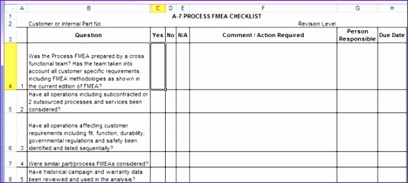 Fmea Excel Template N8fke Elegant Apqp Checklists In Excel Patible with Aiag 4th Ed 650290