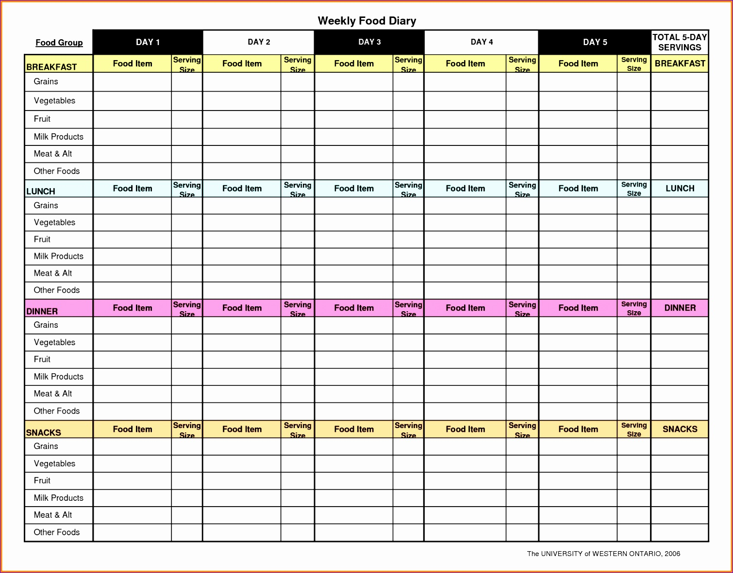 9 food journal excel template exceltemplates
