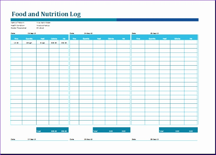 food and nutrition log 709508