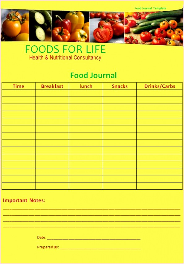 post food journal template excel