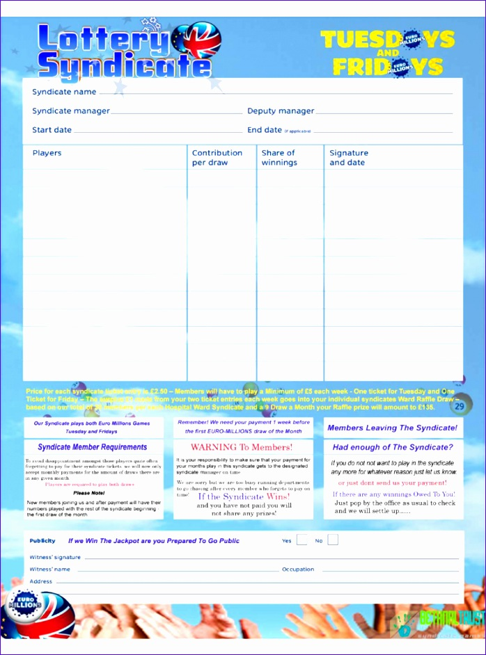 7 form templates excel exceltemplates exceltemplates for Lottery syndicate agreement template word