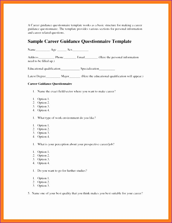 8 format of a questionnaire 564731