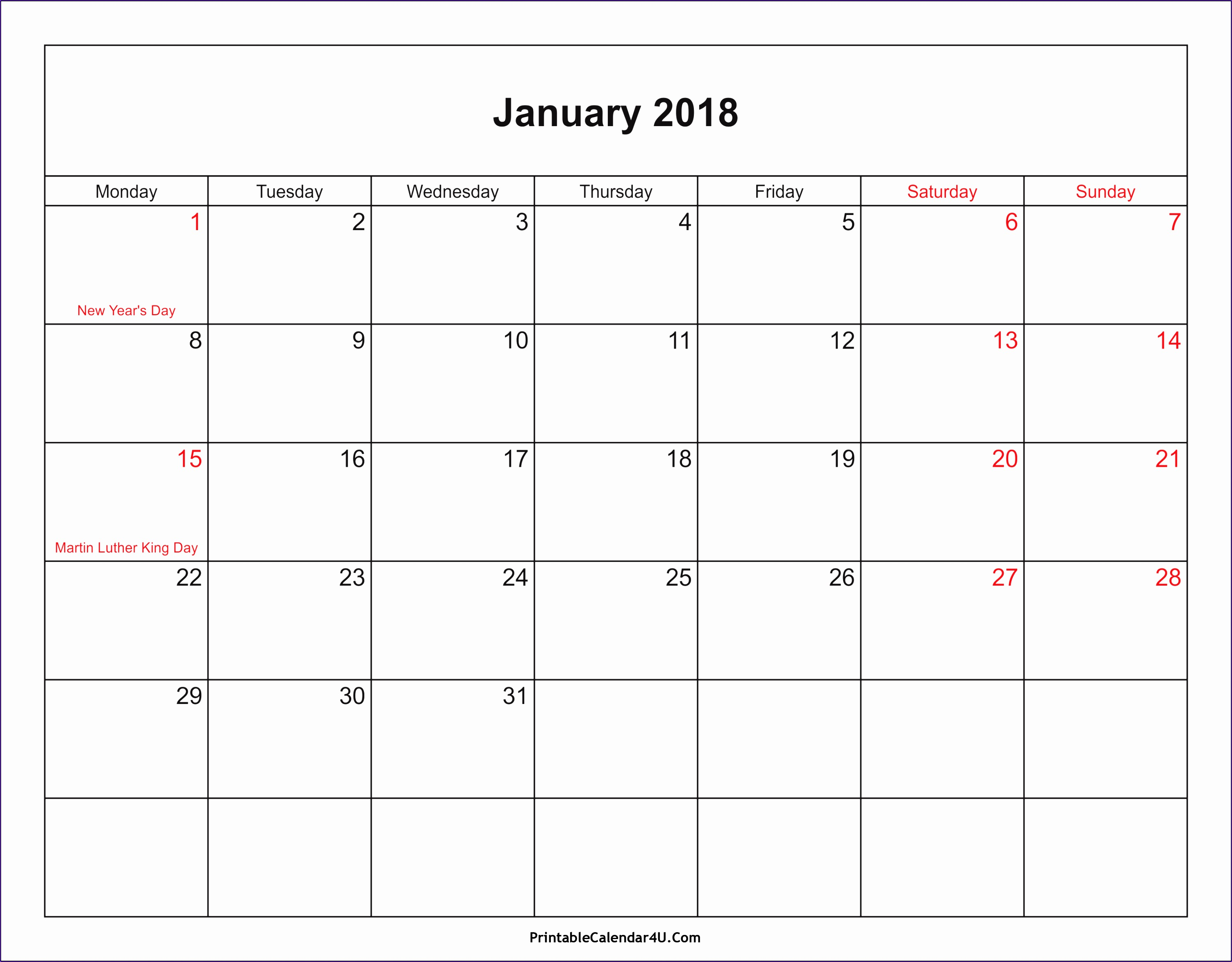 january 2018 calendar with holidays 73 30062349