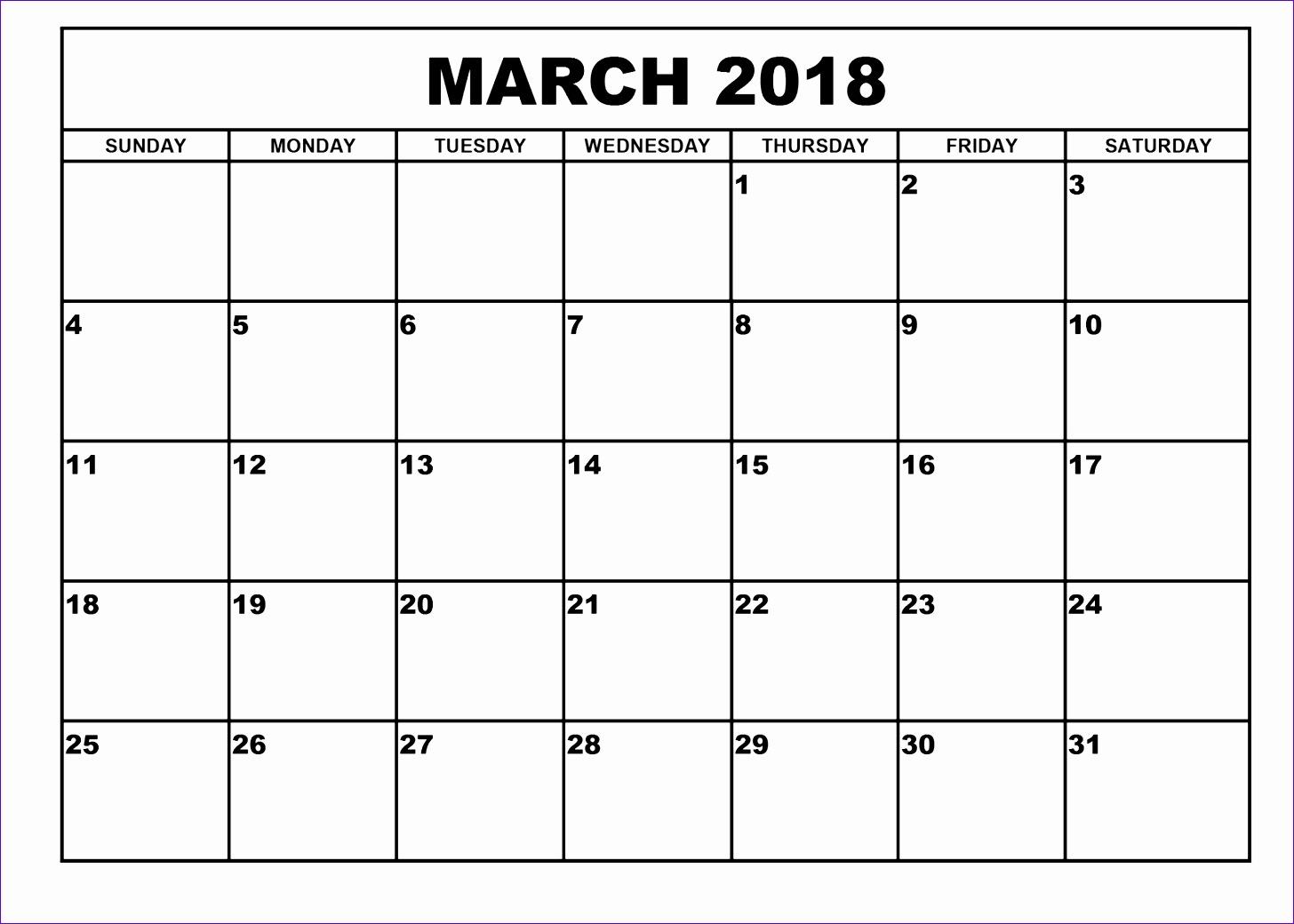 march 2018 calendar template 2464