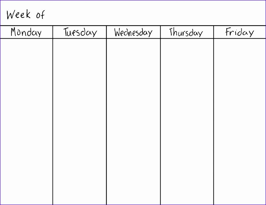 weekly calendar blank 146 931717