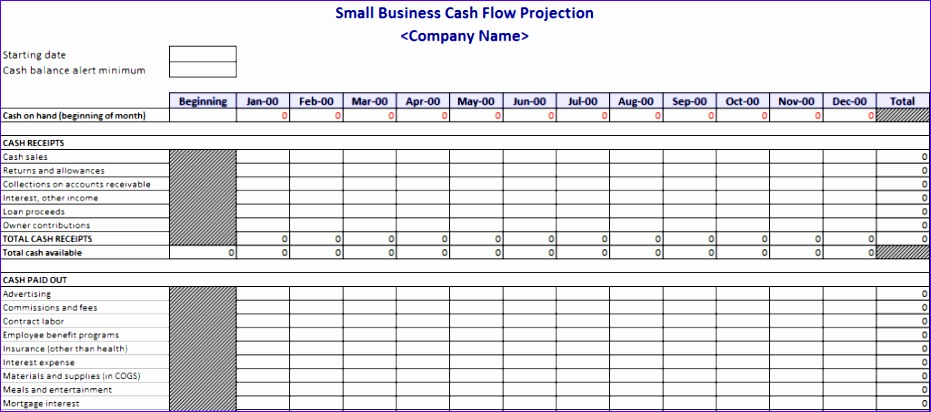 cash flow projection template small business 931412