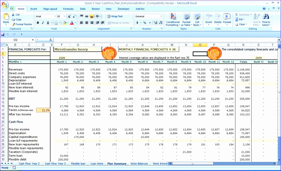 cash flow worksheet excel 1164712