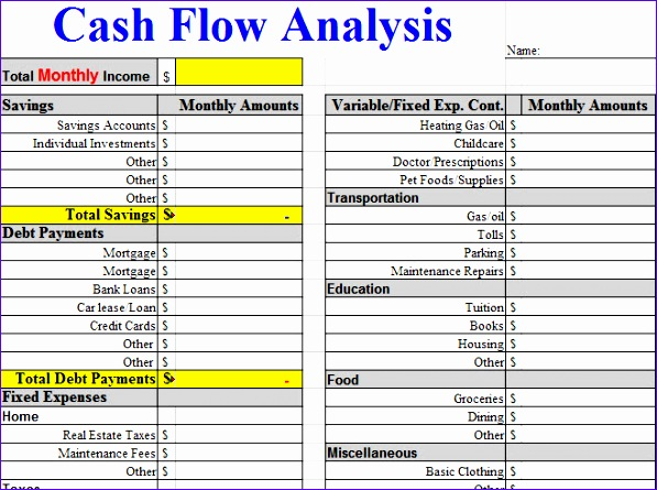 cash flow analysis worksheet template
