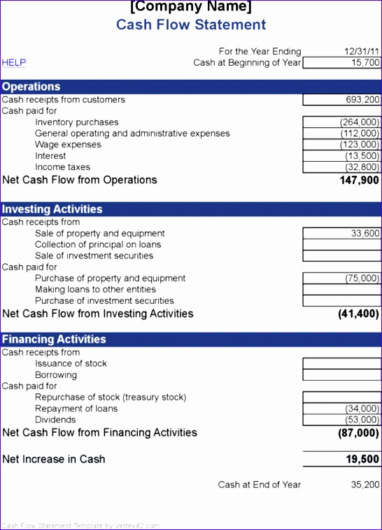personal monthly cash flow statement template excel 546757