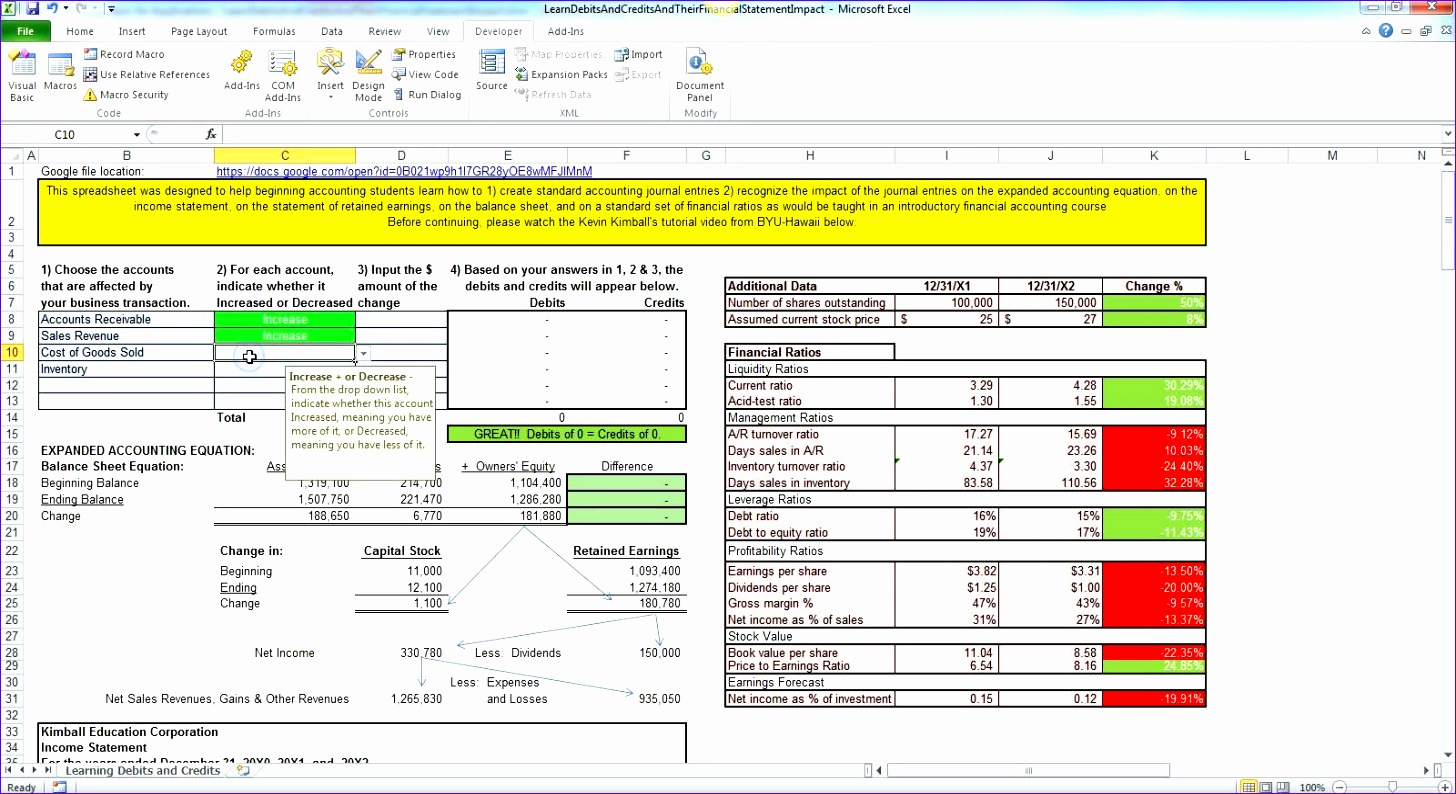 double entry accounting spreadsheet 1456794