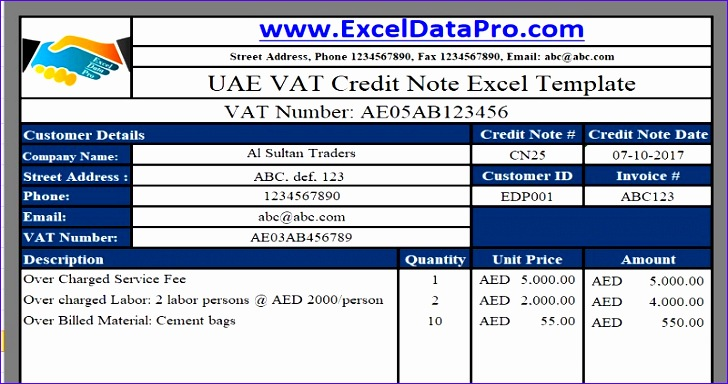 vat credit note 728384