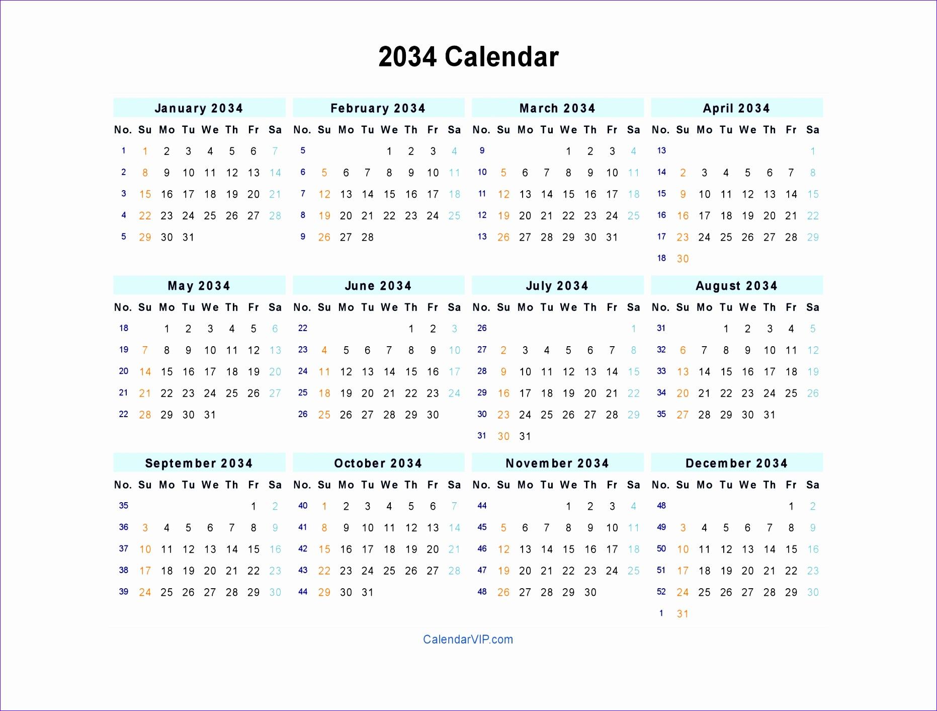 2034 calendar