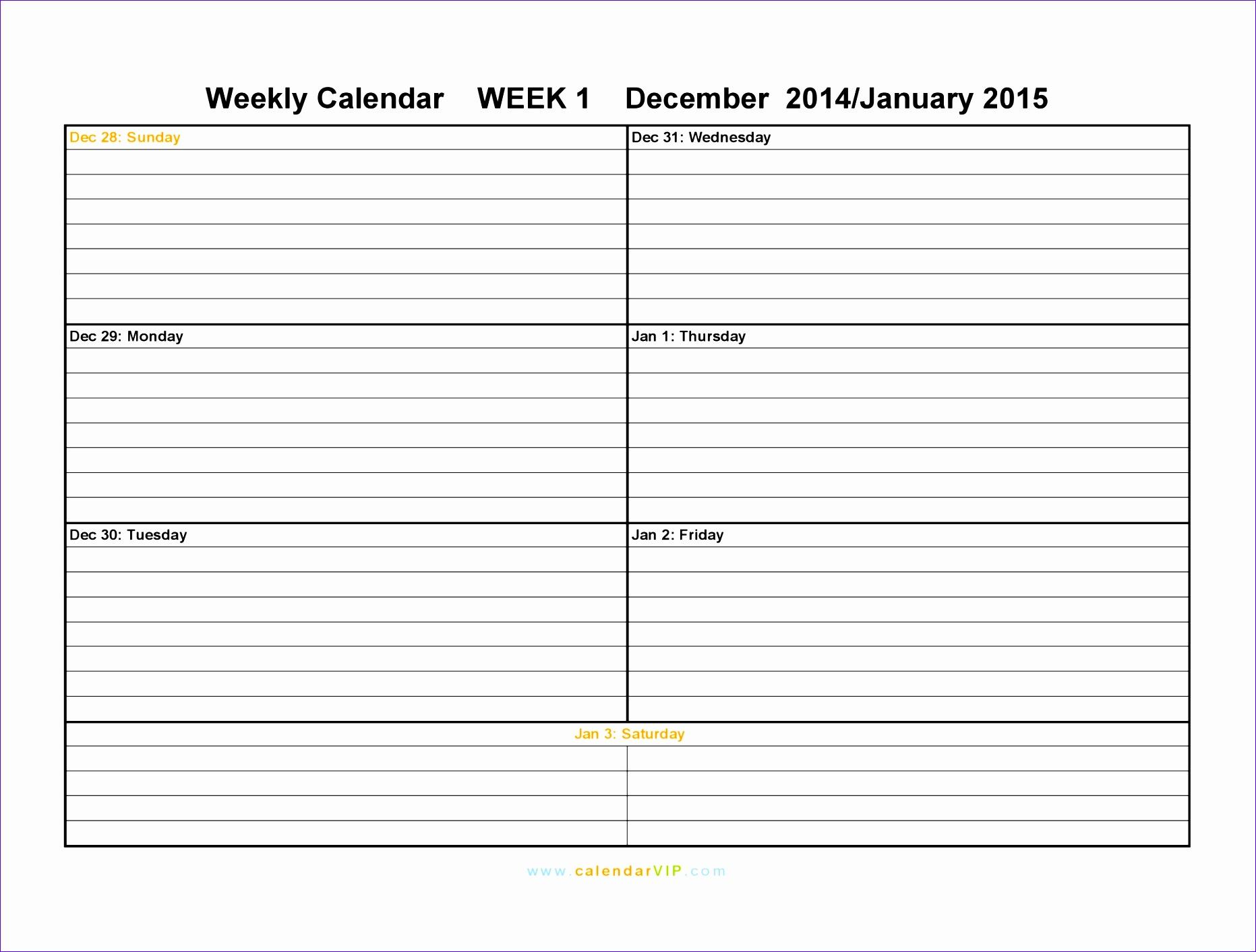 weekly calendar template 18631413