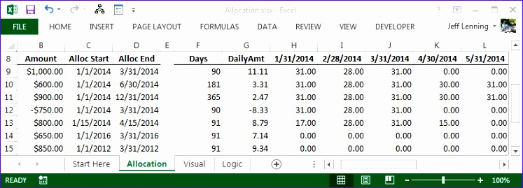 excel formula to allocate an amount into monthly columns 747269