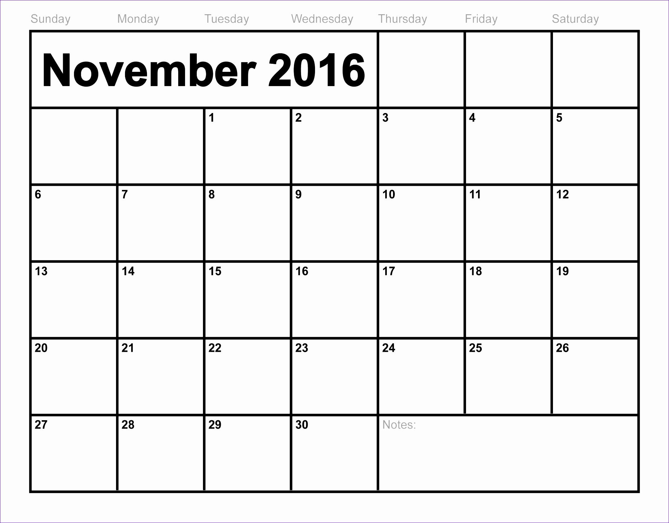 2107 november calendar for 2016