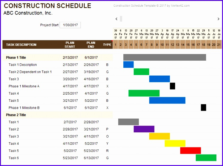Weekly Construction Schedule Template 745553