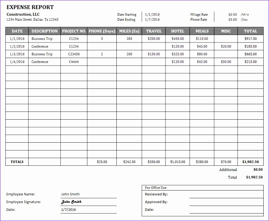 construction expense report
