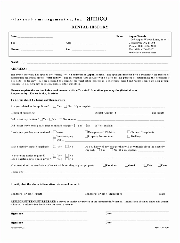 rental history verification form 698942