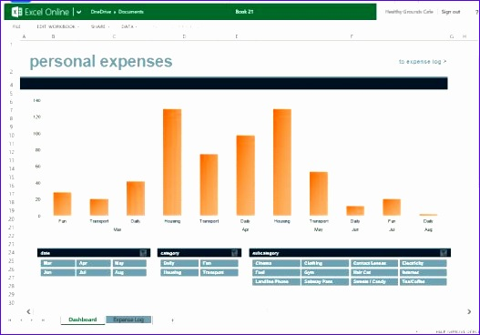 monthly expense chart template for excel online 527368