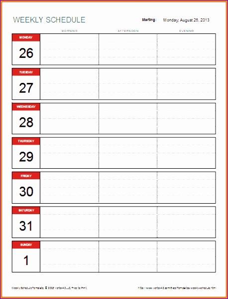 5 weekly schedule template excel 458599