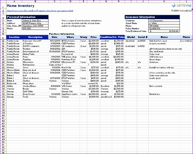 inventory spreadsheet