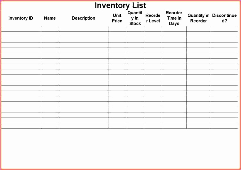 10 sample bar inventory spreadsheet 821581