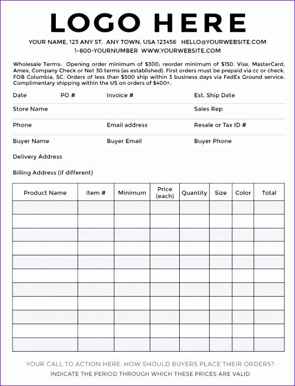sample order form templates