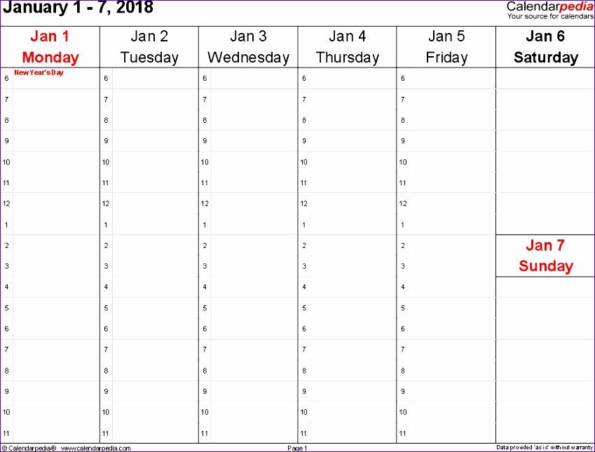 weekly calendar 2018 excel 1737 849644