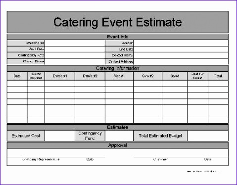F1606 Wide Row Basic Catering Event Estimate 479374