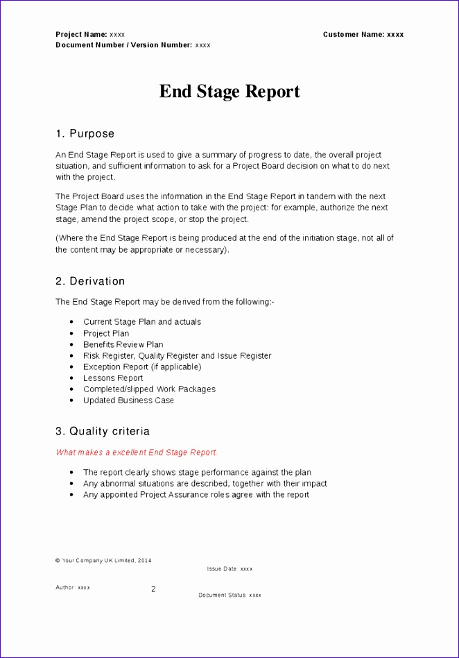 prince2 end stage report