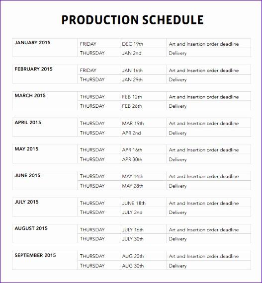 production schedule template 527570
