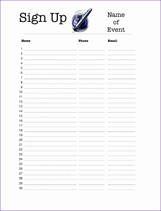 excel sign up sheet template 562736
