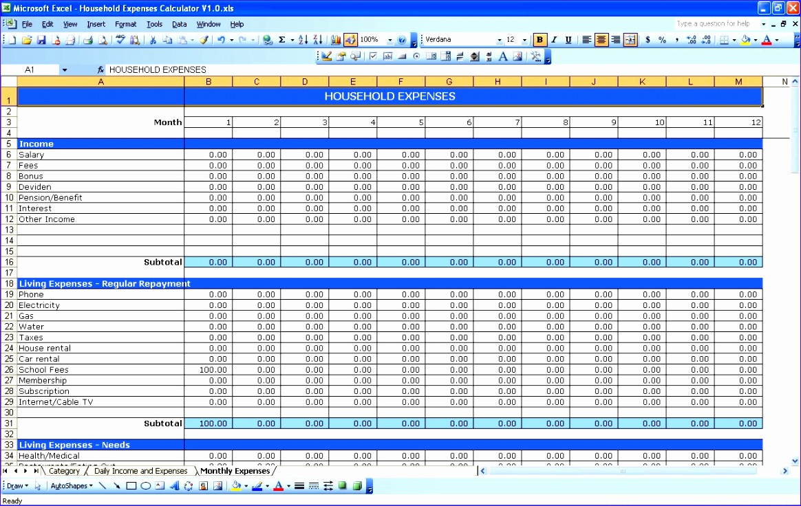 excel template expenses 607 1164736