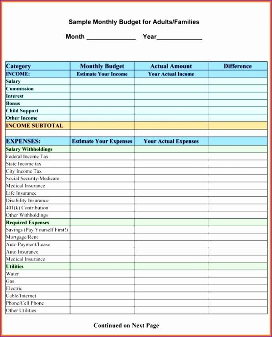 9 sample household bud spreadsheet 2 555687