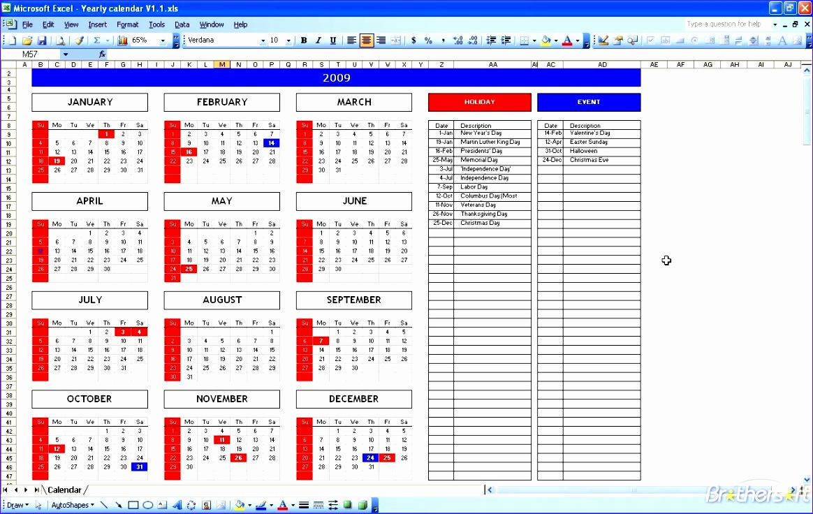 excel monthly calendar template s