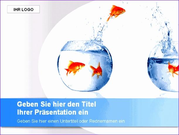 powerpoint vorlage goldfische blau 611462