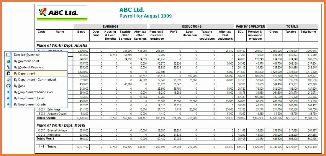 4 employee salary details format in excel