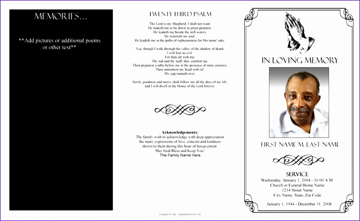 free editable funeral program template 728447