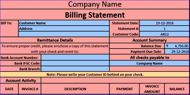 billing statement template 649327
