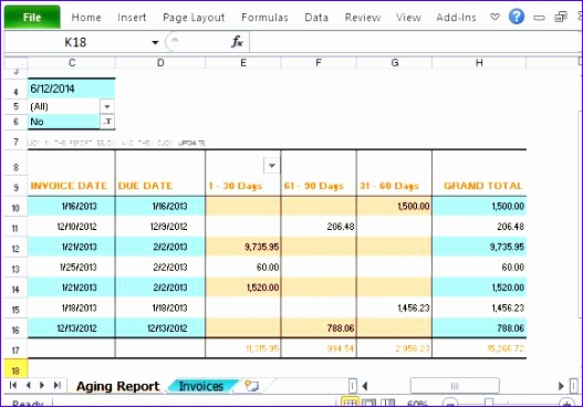 invoice aging report excel template 1350