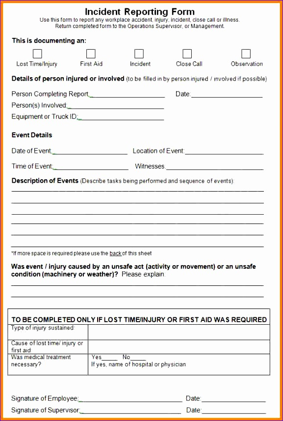 6 incident report form template word 577857